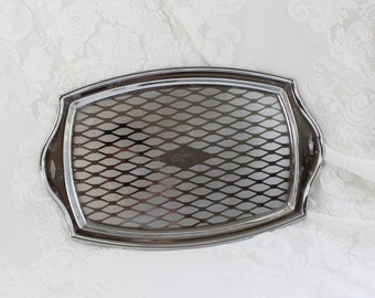 Retro Chrome Serving Tray- Vintage Modernist, Mid- Century, Mad Men Style- Etched Design- Small Size- appetizers, Dressing Table, Dresser