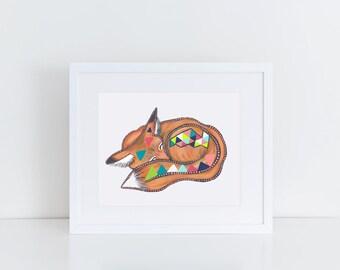 Sleepy Animal Collection / Sleepy Red Fox Print / 5x7 Original Illustration Print / Geometric / Woodland