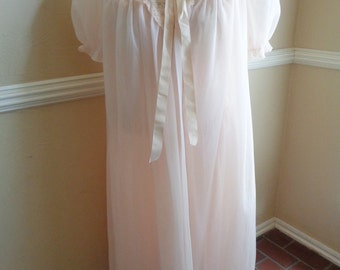 Vintage Pink Peignoir Set Size 36-38 Medium 1950s 1960s