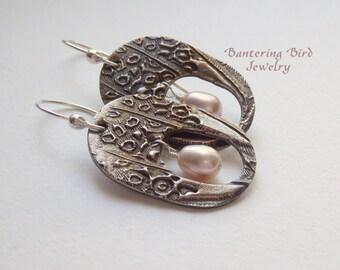 Blush Pink Pearl Earrings in Window Hoops, Statement Earrings, Unusual Mixed Metal, Sterling Silver and Freshwater Pearls, Big Earrings
