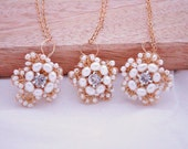 Pearl Flower necklace - Bridesmaids sets- Ivory Pearls  Vintage Rhinestones - Floral Lace - vintage style  Gold Lace Couture Wedding jewelry