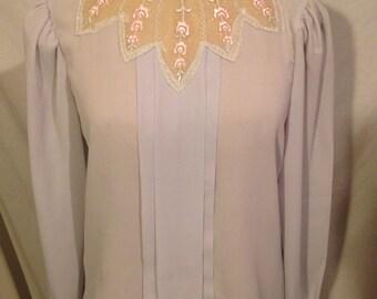 Vintage Ann Chabrol Light Grey Long Sleeve Blouse s18