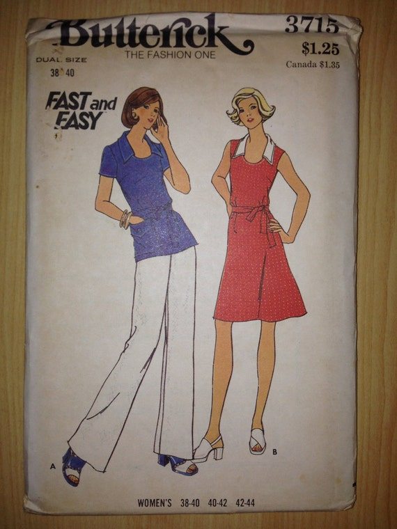 Vintage 70s Butterick 3715 Sewing Pattern Womens Dress Top and Pants Size 38-40