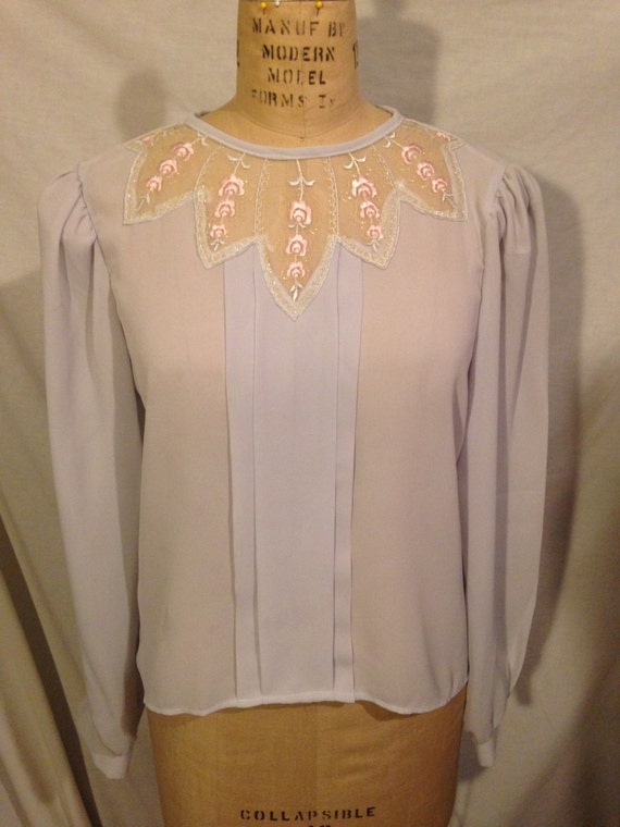 Vintage Ann Chabrol Light Grey Long Sleeve Blouse s18
