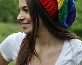 LGBT Gay Pride Rainbow Slouchy Hat - Rainbow Beanie - Slouch Hat - Slouchy Beanie - Rainbow Hat - Bi Pride - Trans Pride