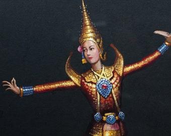 Vintage Framed Original Gouache Painting of Ceremonial Thai Dancer by Artist Charoen