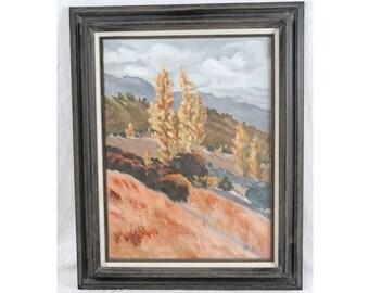James T. Reynolds 18x24 California Fall Poplars Landscape Trees Mountains