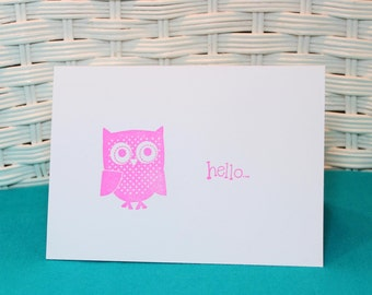 Set of 6 Hand Stamped Owl Hello Note Cards