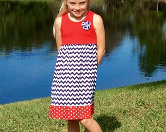JULY 4  FIREWORKS...New for 2016! Perfect all summer! Our original tank dress now comes in cool, soft Riley Blake knits! sizes 6mo -8 years