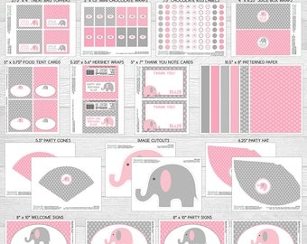 Elephant Theme LARGE Birthday Party Package | Pink & Grey | Personalized | Printable DIY Digital Files