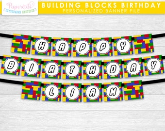 Building Blocks Theme Happy Birthday Party Banner | Yellow Red Blue & Green | Personalized | Printable DIY Digital File