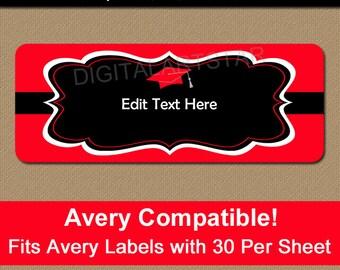 Printable Address Labels - Graduation Address Labels - Editable Mailing Label Template - Graduation Return Address Label - Avery Compatible