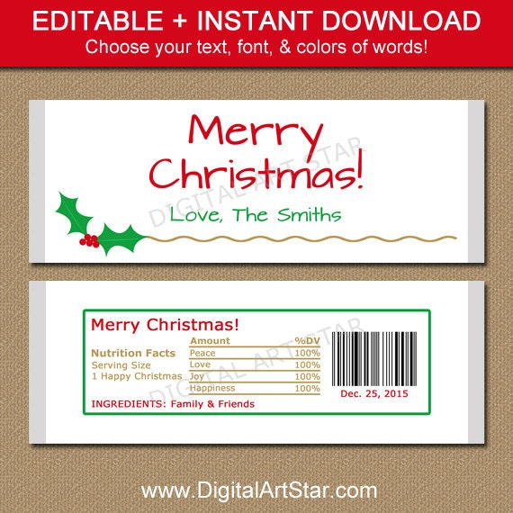 Christmas candy bar wrapper template printable by for Free mini candy bar wrapper template