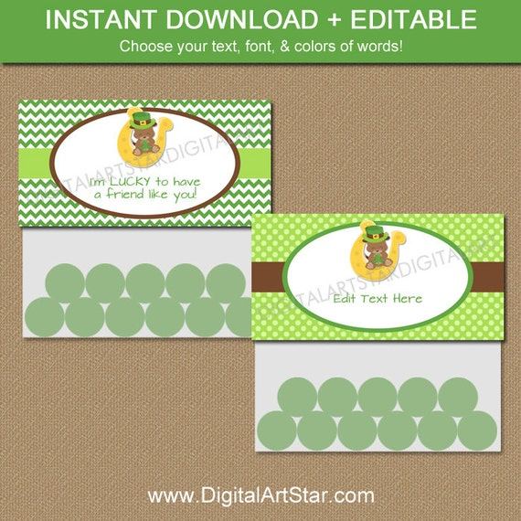 Printable st patricks day party treat bag toppers cute favor for Goodie bag tag template