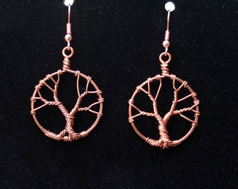 Tiny twisted trees copper wire earrings