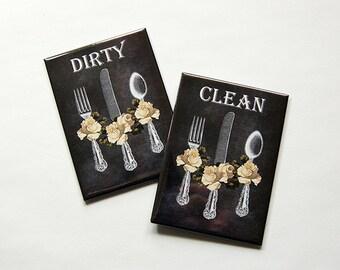 Dishwasher Magnet, faux chalkboard, Dirty Dishes, Clean Dishes, Kitchen Magnet, black, housewarming gift, bridal shower gift (5966)