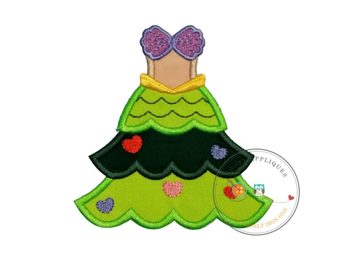 Mermaid princess iron on Christmas tree fabric applique, Machine embroidered no sew mermaid Christmas holiday patch, ready to ship, DIY