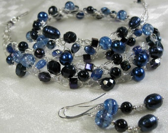 Dark Blue and Silver Crocheted Bead Necklace Set, wire crochet necklace, handmade beaded jewelry