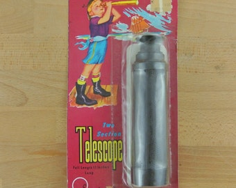 Vintage Toy Telescope | Two Section Child's Telescope | Unused / New on Card | 11 Inches | 1960's Hong Kong