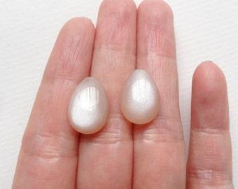 AA Grade Peach Moonstone Half Top Drilled Flat Petal Drops 10x15x6 mm One Pair K5022 J5990 J6398