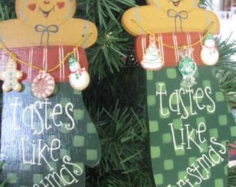 Gingerbread, ornament, Christmas, mitten, OFG team, wood, garland, handpainted, hostess gift