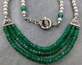 Emerald Green Onyx Necklace, Bali Sterling Silver, Triple Strand