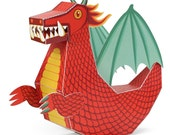 Red Dragon Paper Toy - Paper Toys - DIY Paper Craft Kit