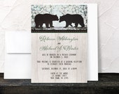 Rustic Bear Reception Only Invitations and RSVP reply cards - Country Woodsy Spring Bear Post Wedding Reception - Printed Invitations