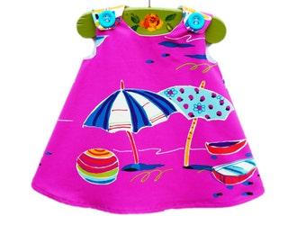Beach Theme Aline Dress -  Medium Weight - Photo Prop - Sailing - Girls Fashion - Sunny Umbrella - Peasant Top - Summer Dress - 0-3M to 4T