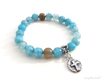 Blue Bead Bracelet with Sterling Silver Cross, Christian Jewelry, Stacking Bracelet, Christian Bracelet, Blue Stretch Bracelet, Gift for Her