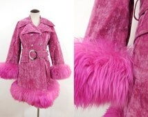 70s Pink Furry Velour Western Disco Pea Coat Long Costume Lady Double Breasted Fitted Pom Pom Faux Fur Vintage WARDS Jacket / Womens Small