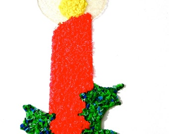 Vintage Christmas Plastic Candle Melted Popcorn Holiday Decor Party Decorations Large Wall Hanging