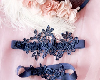 Wedding Garter Set Bridal Garter Set - Navy Blue Lace Garters - Keepsake Garter Toss Garter Prom Garter Something Blue Garters