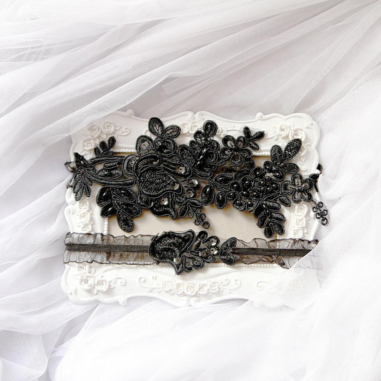 Wedding Garter Set Bridal Garter Black Garter Belt Keepsake