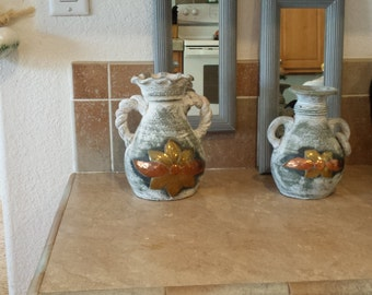 Vintage handmade wall pockets set of two pottery pots with flowers and two matching mirrors painted  gray wood Frame. All for 48.00 dollars