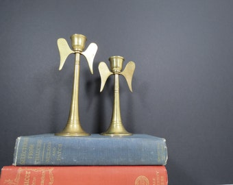 Brass Angel Candleholders // Vintage Mid Century Brass Christmas Decor, Holiday Decorations Winged Candlesticks Dining Centerpiece Decor