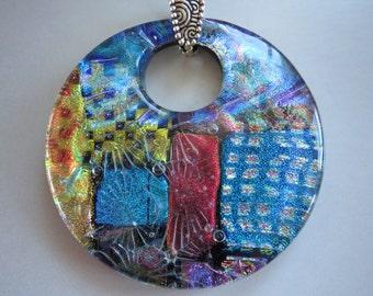Fused glass dichroic donut pendant