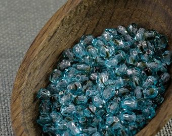 4mm beads 50pc Fire polished beads 4mm faceted beads Czech beads 4mm round beads glass beads Blue beads