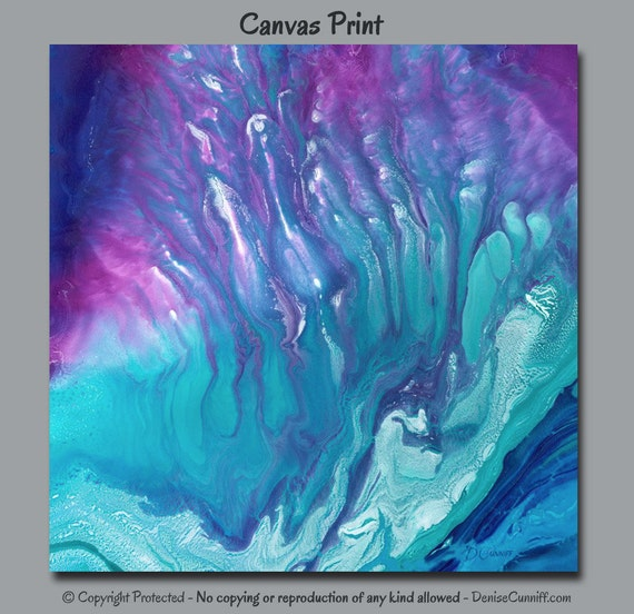 Abstract Canvas Wall Art Teal Purple Jewel Tone Decor Master