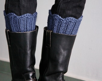 Blue grey boot cuffs crochet leg warmers, winter fashion, chunky boot toppers