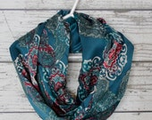 Colorful Print Infinity Scarf, Loop Scarf, Fashion Scarf