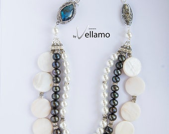 Glam rich large statement necklace with large CZ pave blue flash labradorite, white, black pearls, crystal spacers, slightly asymmetrical