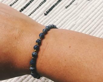 Navy Paper Bead Bracelet (Single Strand)