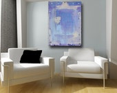 Large Abstract Painting Acrylic on Canvas Home Decor Wall Art Contemporary Art Blue Orchid Cream 30 x 40 by Cheryl Wasilow