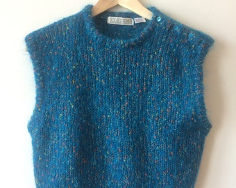 Speckled Teal Mohair Sweater Vest Buttons on Neck Womens Small