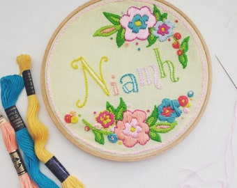"Personalised 6"" Floral Embroidered Name Hoop - Party Favour New Baby Birthday Bridesmaid Gift"
