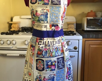 Dia de los Muertos Full Apron, Blue, Day of the Dead apron with pocket
