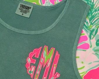 Lilly Monogram Comfort Colors Tank -Lilly Fabric Scallop Circle Monogram Tank -  Lilly Monogrammed Tank - Lilly  Monogram Tank Top