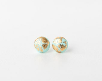 Blue and gold round earrings silver plated stud simple earrings polymer clay mint