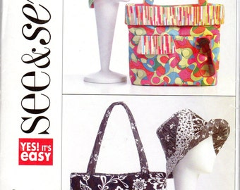 Easy Tote or Hand Bag and Matching Hat Pattern - Butterick See & Sew B5172 uncut